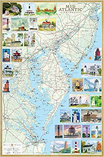 mid atlantic lighthouses illustrated map guide laminated