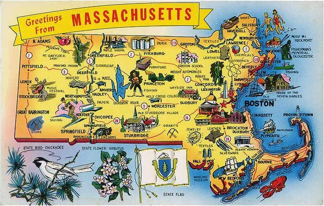 postcard massachusetts map most popular pictures