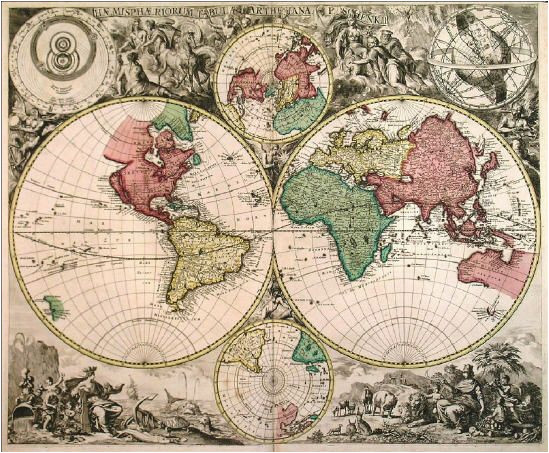 extremely rare double hemisphere world map with smaller