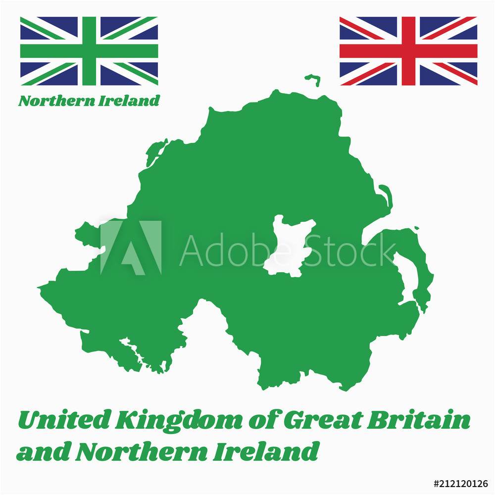 fotografie obraz green map outline and flag of northern ireland