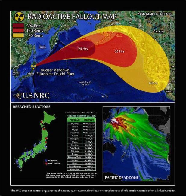 fukushima maps showing motion of radioactive fallout