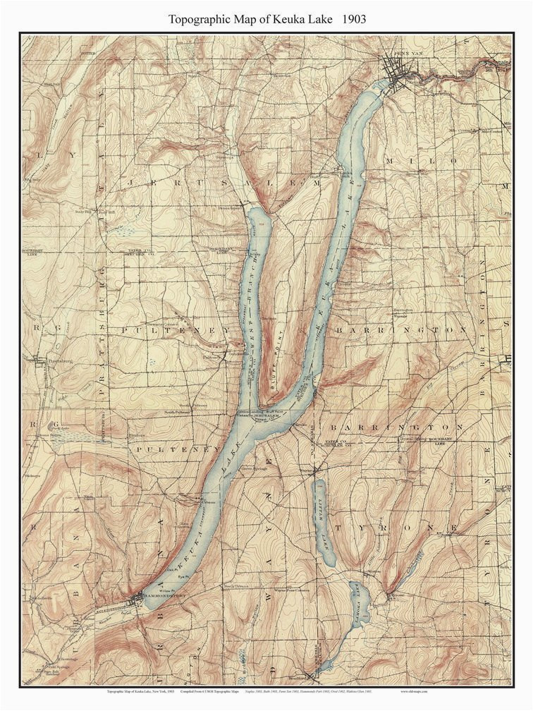 keuka lake 1903 usgs old topographic map custom composite reprint new york finger lakes