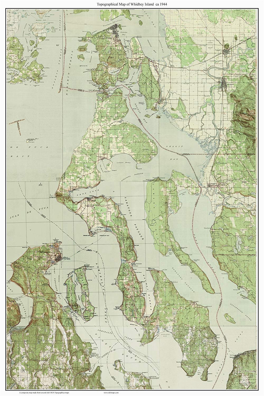 Old topographic Maps Of New England Whidbey island Ca 1944 Usgs Old topographic Map A Composite Custom Print Washington