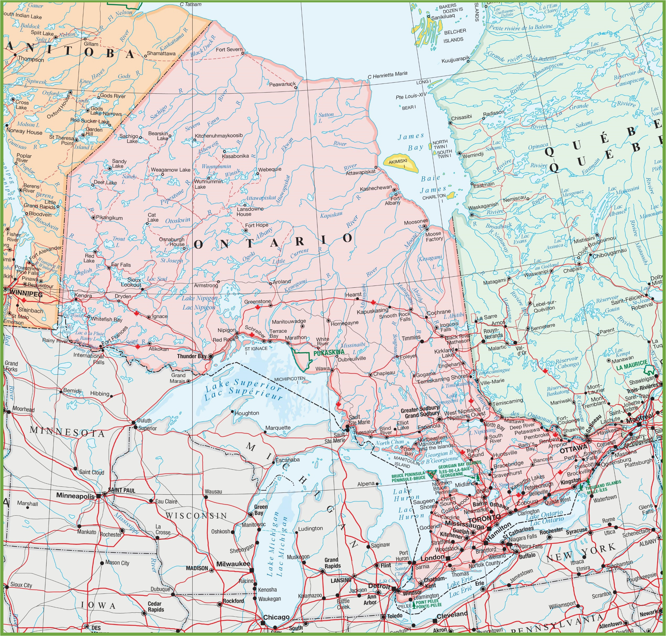map of ontario with cities and towns