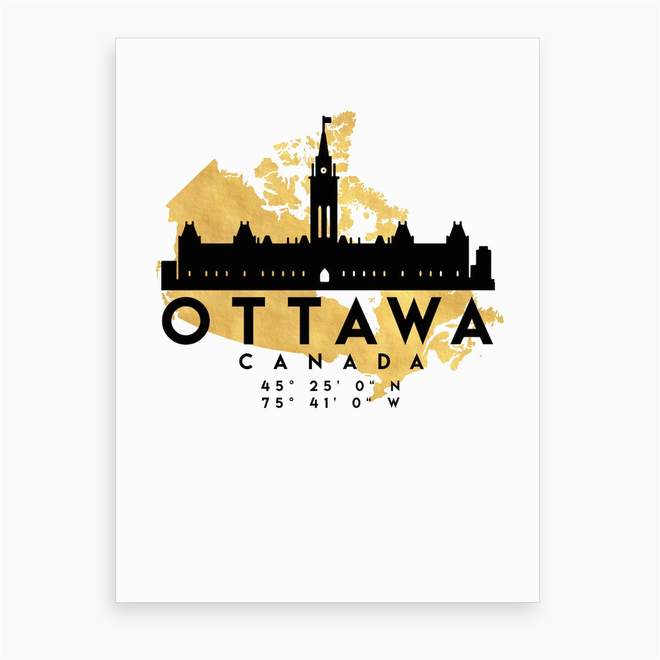 ottawa canada silhouette city skyline map
