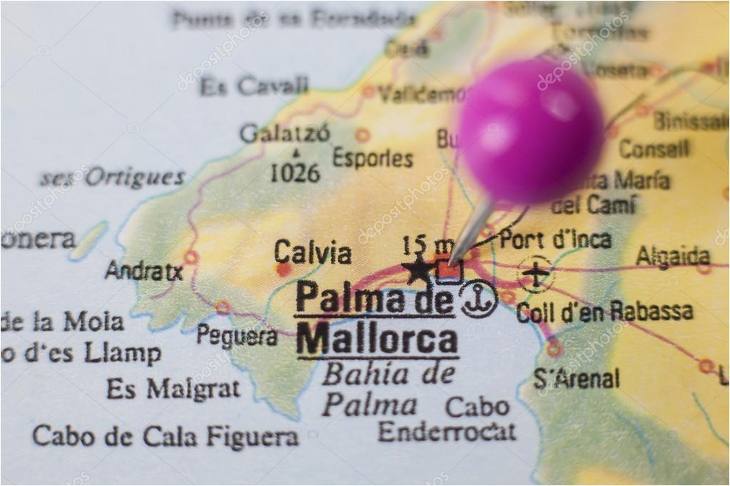 pushpin marking on palma de majorca spain stock photo
