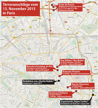 Paris On A Map Of France Terroranschlage Am 13 November 2015 In Paris Wikipedia