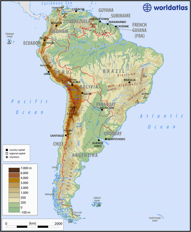 Physical Map Of the United States and Canada south America ...