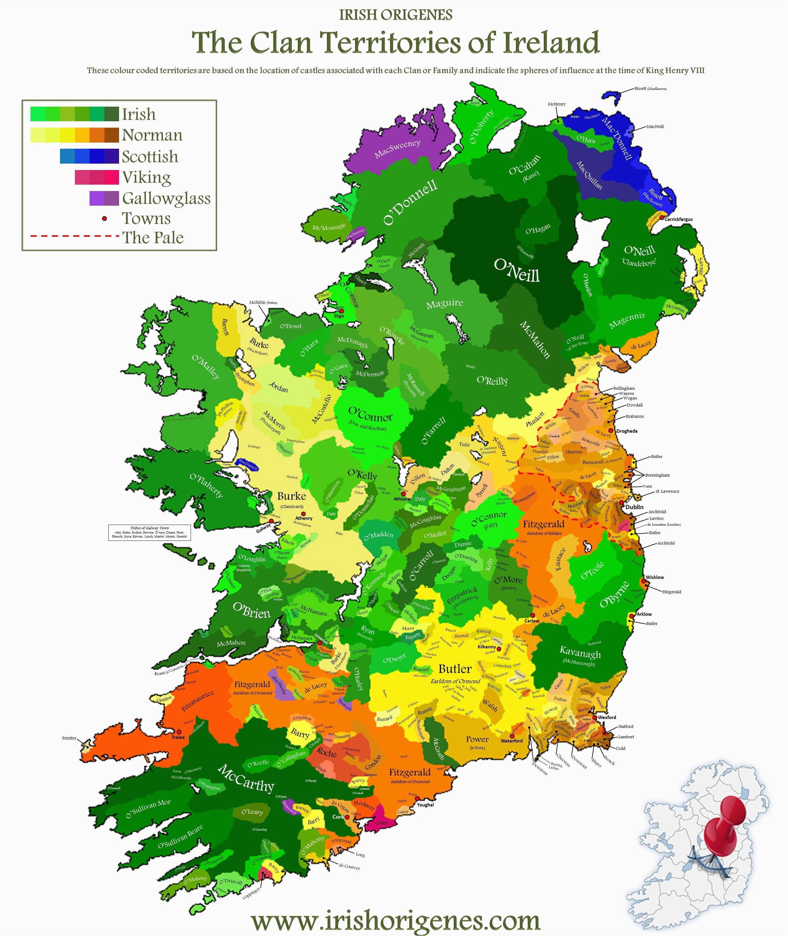 clan map of ireland irish origenes use family tree dna to