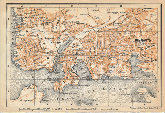1910 plymouth united kingdom great britain antique map products