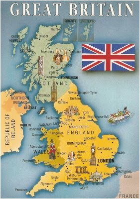 postcard a la carte 2 united kingdom map postcards uk map of