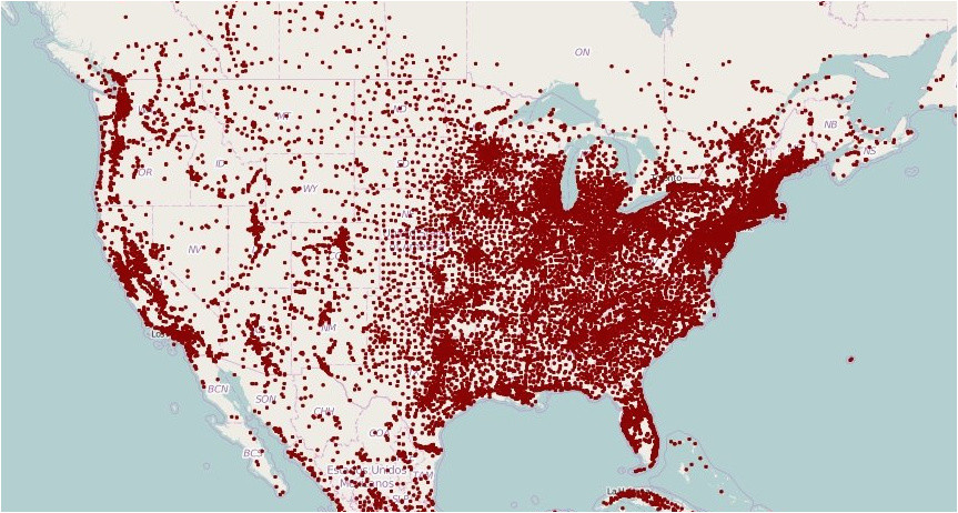 mapped population density with a dot for each town