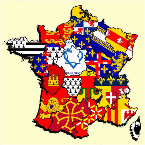 Provinces Of France Map French Regions Flag Map by Heersander Heritage France Map