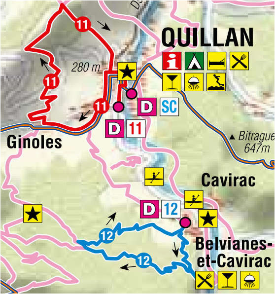 Quillan France Map Hiking Trails In Pyrenees south France Camping Aude Midi