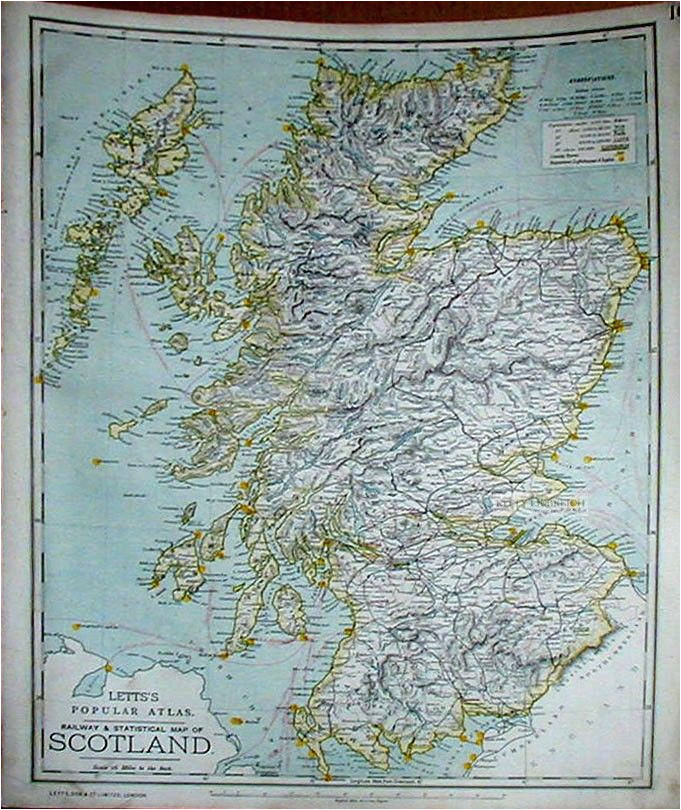 antique map letts s railway and statistical map of scotland 1886