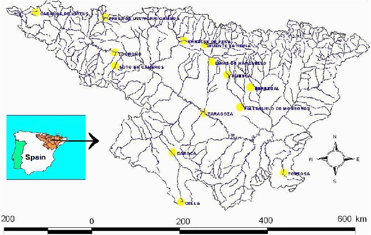 distribution of 14 rainfall gauges in the ebro river basin
