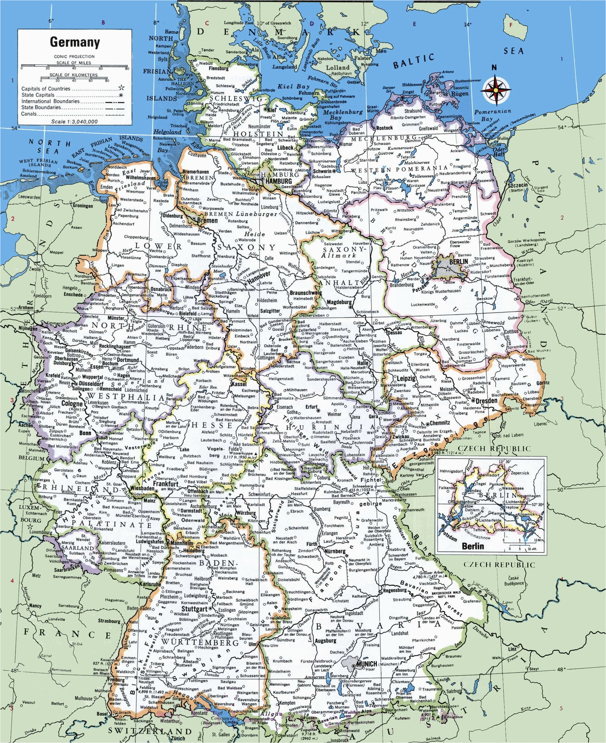 map of germany with cities and towns traveling on in