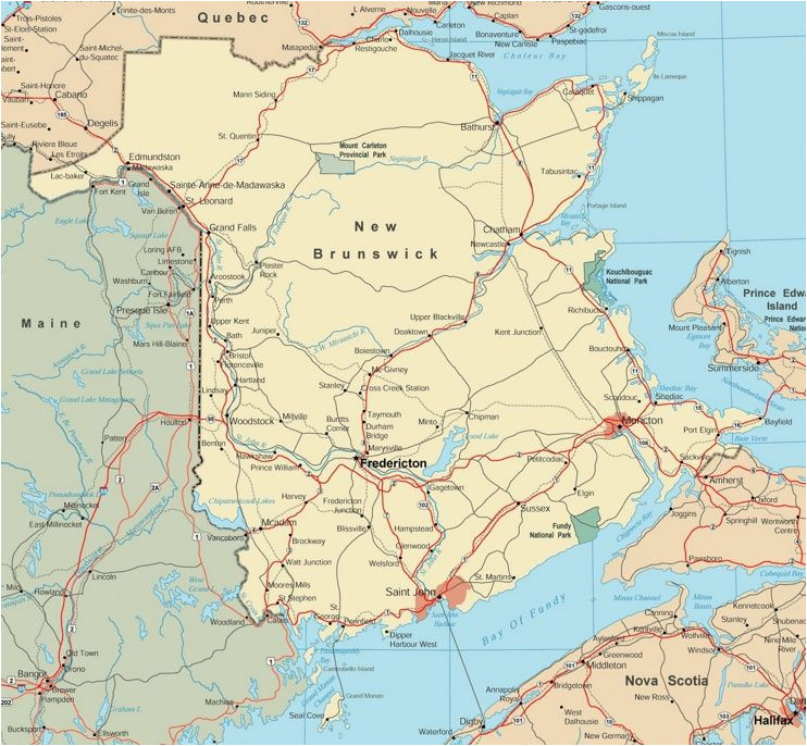 map of new brunswick with cities and towns maps