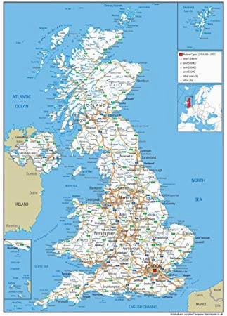 united kingdom uk road wall map clearly shows motorways major roads cities and towns paper laminated 119 x 84 centimetres a0