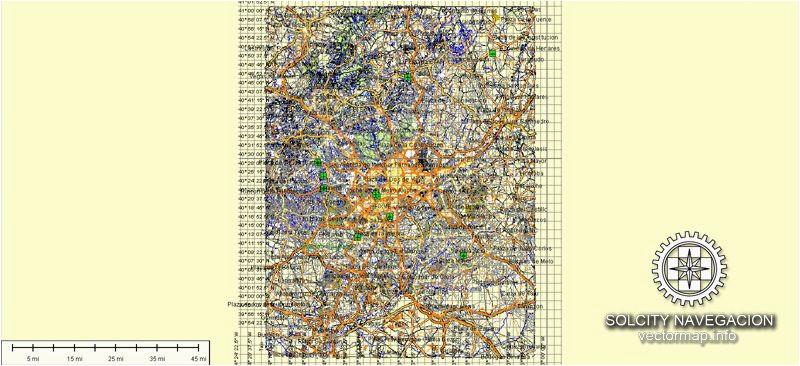 madrid map vector spain printable city plan atlas 49 parts editable