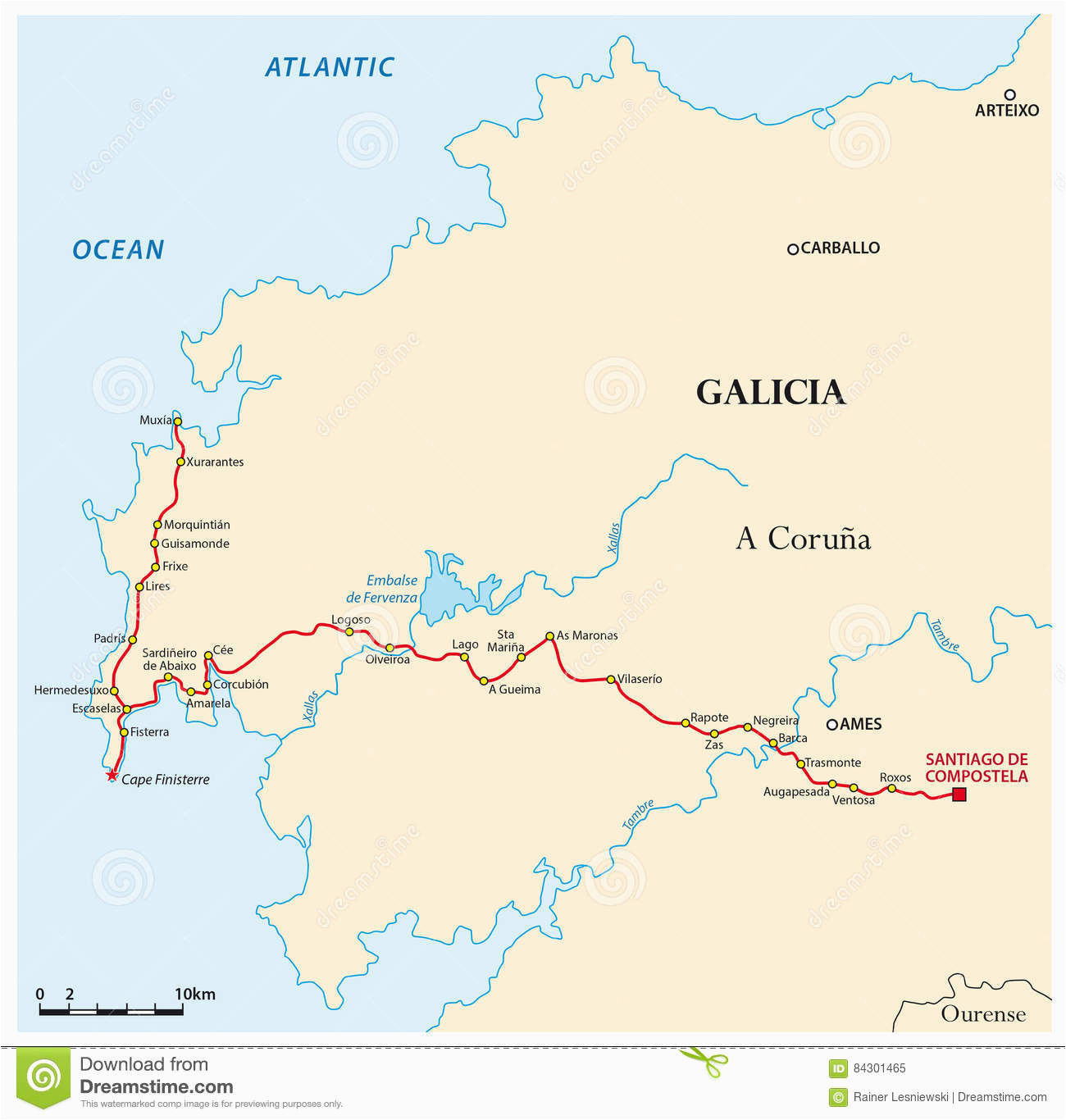 map way of st james from santiago de compostela to cape finisterre
