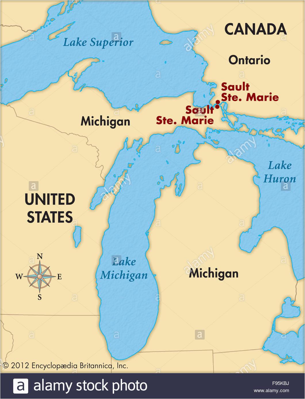 Sault Ste Marie Canada Map Sault Sainte Marie Stock Photos