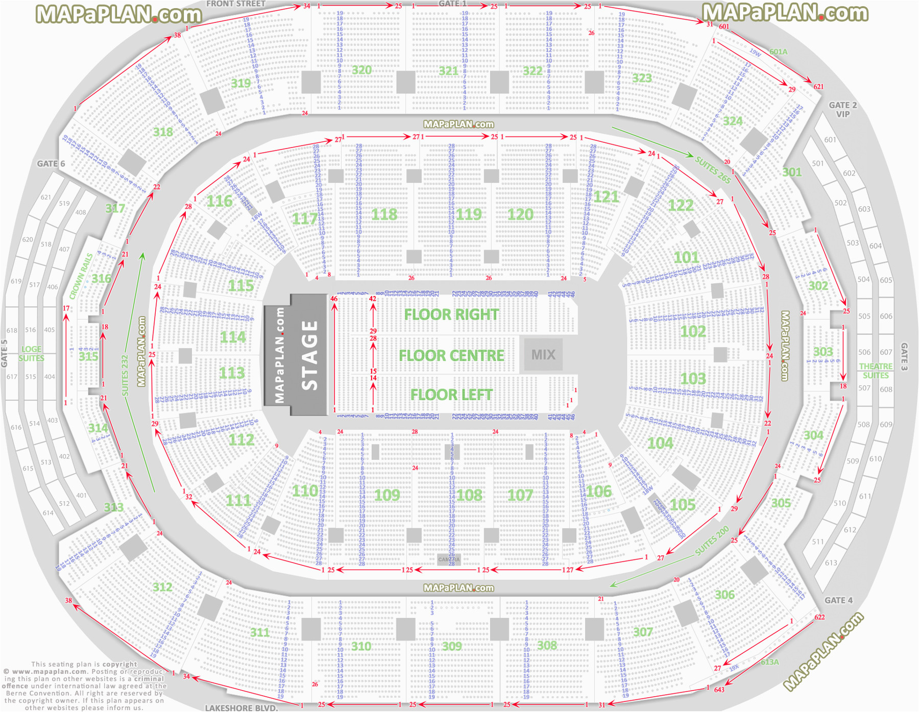 Seating Map Air Canada Centre Stadium Seat Numbers Online Charts Collection