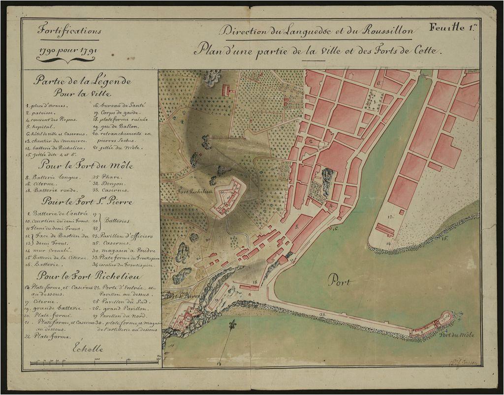 file plan du port de sa te et de ses forts 1790 archives