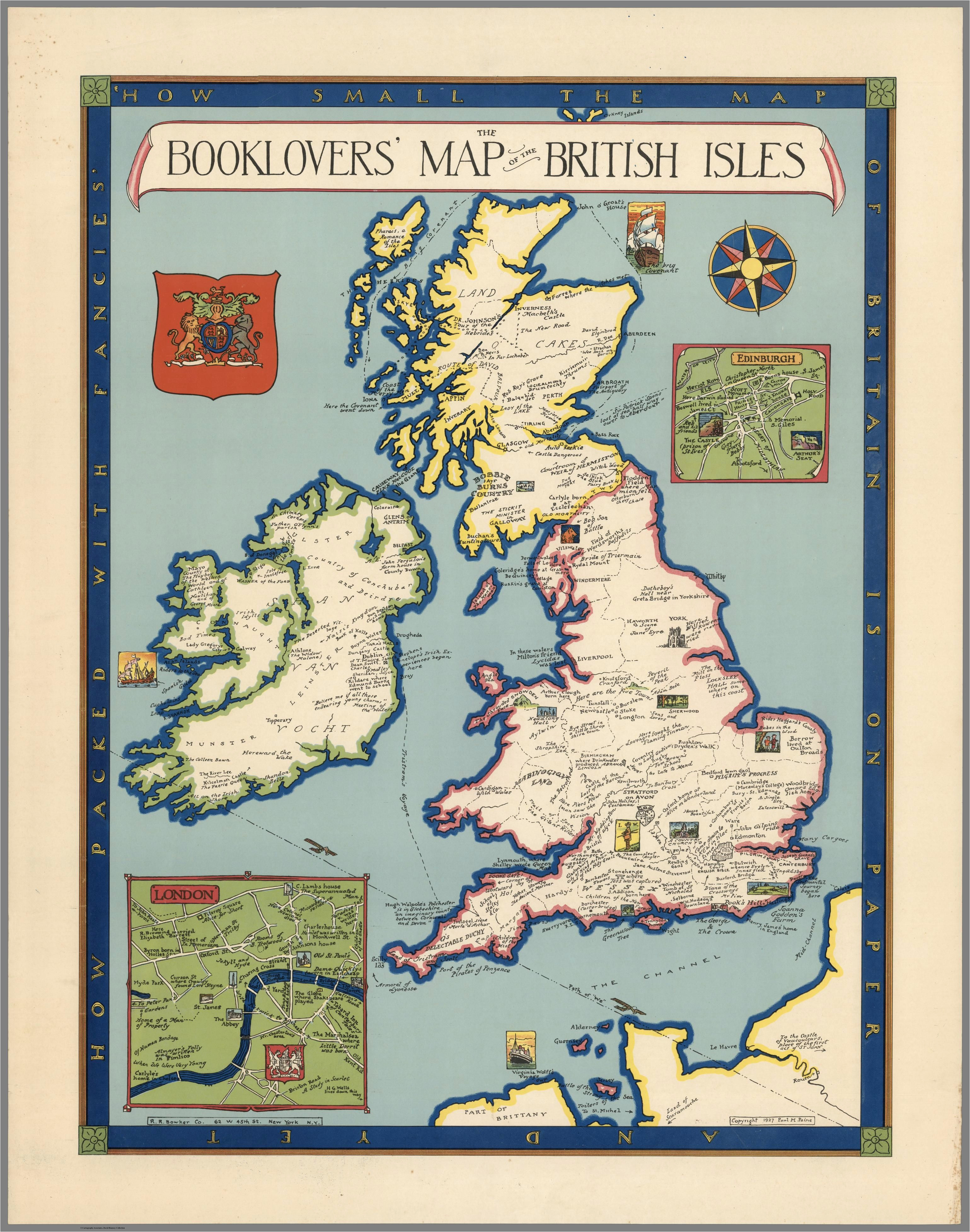 the booklovers map of the british isles paine 1927 map uk