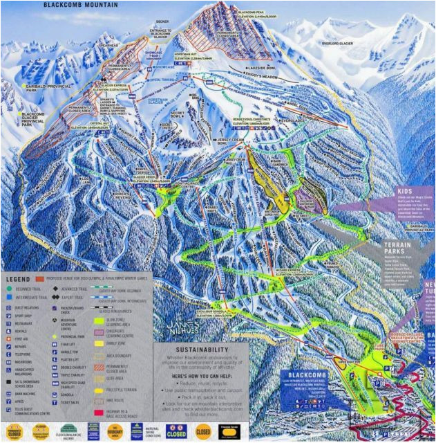 Ski Resorts Canada Map Blackcomb Mountain Skiing Whistler British Columbia