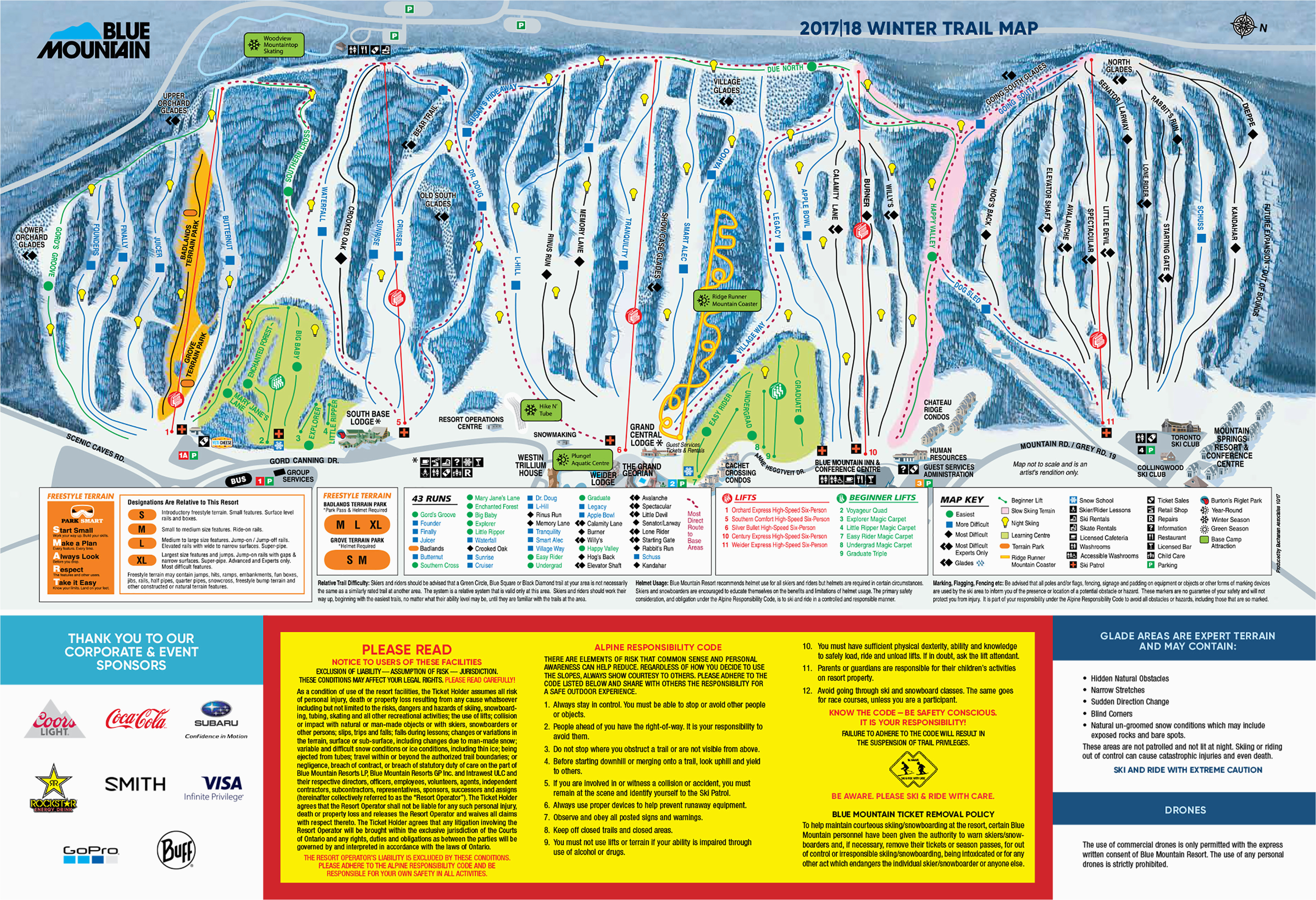 blue mountain trail map onthesnow