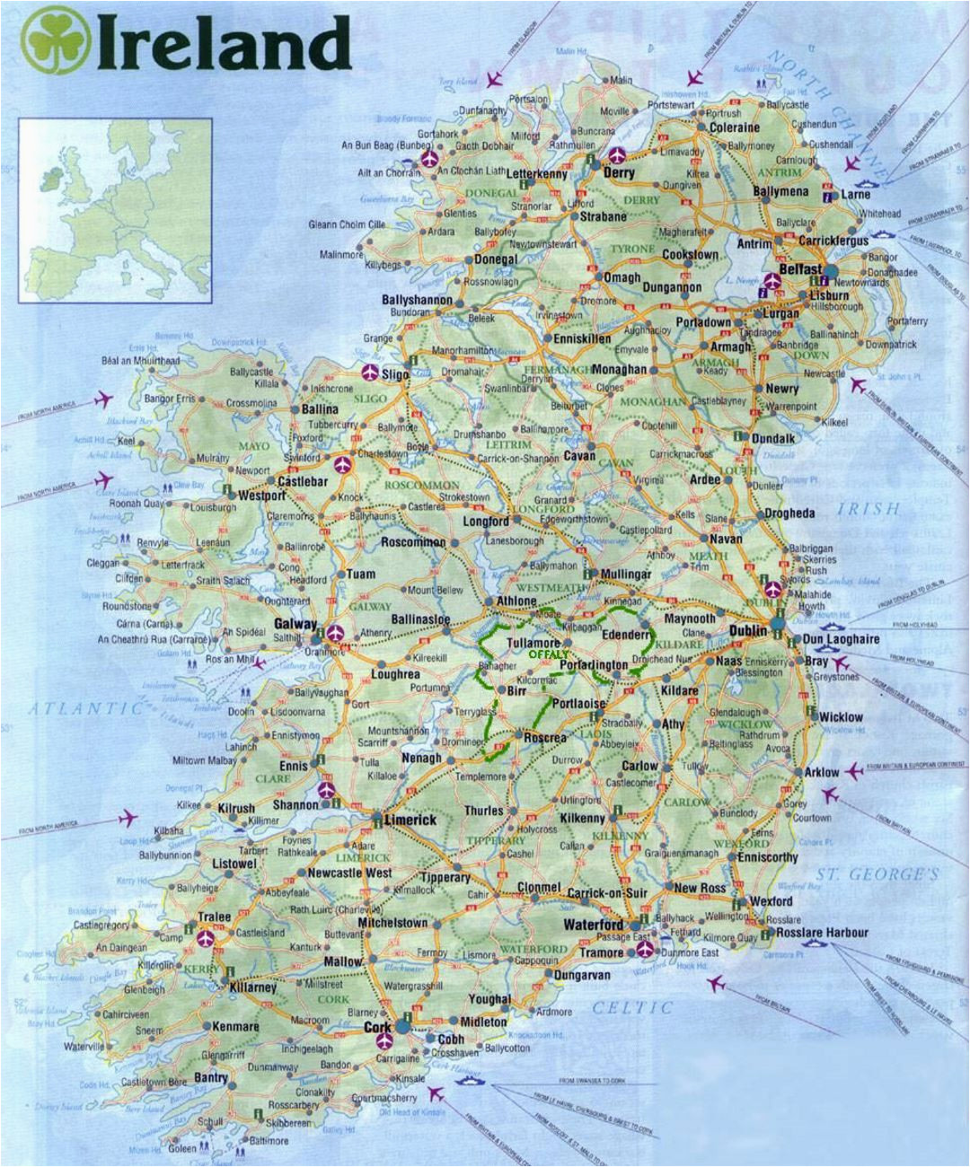 maps of ireland detailed map of ireland in english tourist map