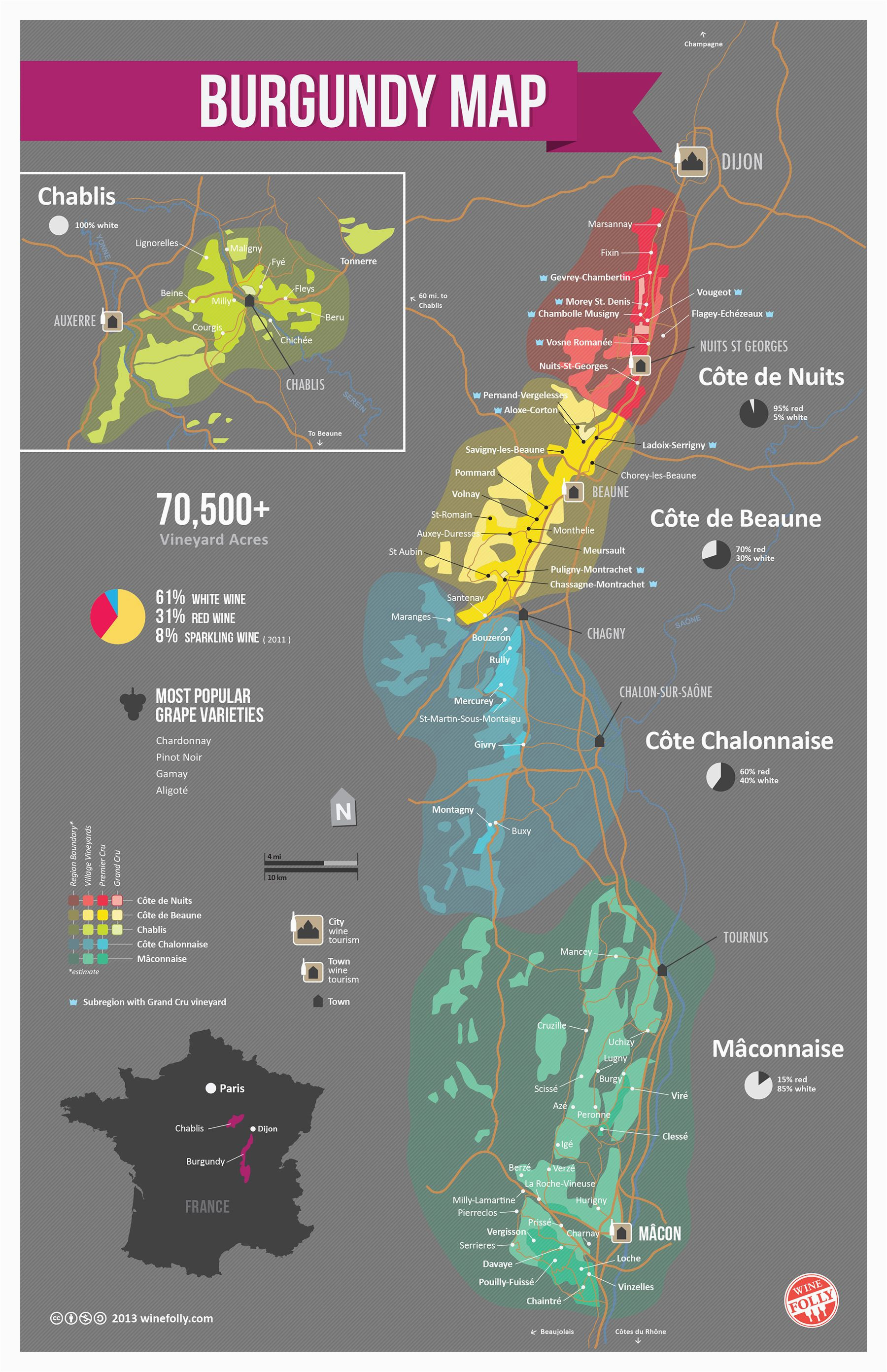 france bourgogne wine map southern france wine folly burgundy