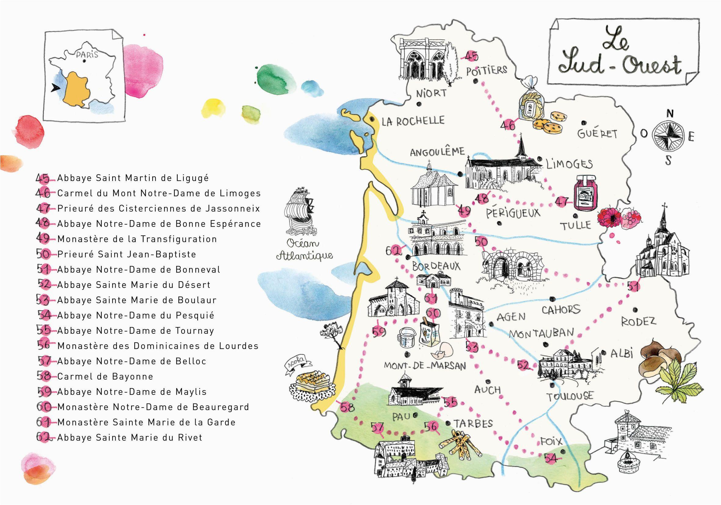 caroline donadieu guide des abbayes south west france map map