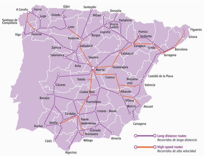 train connections in spain map ave and times spain info
