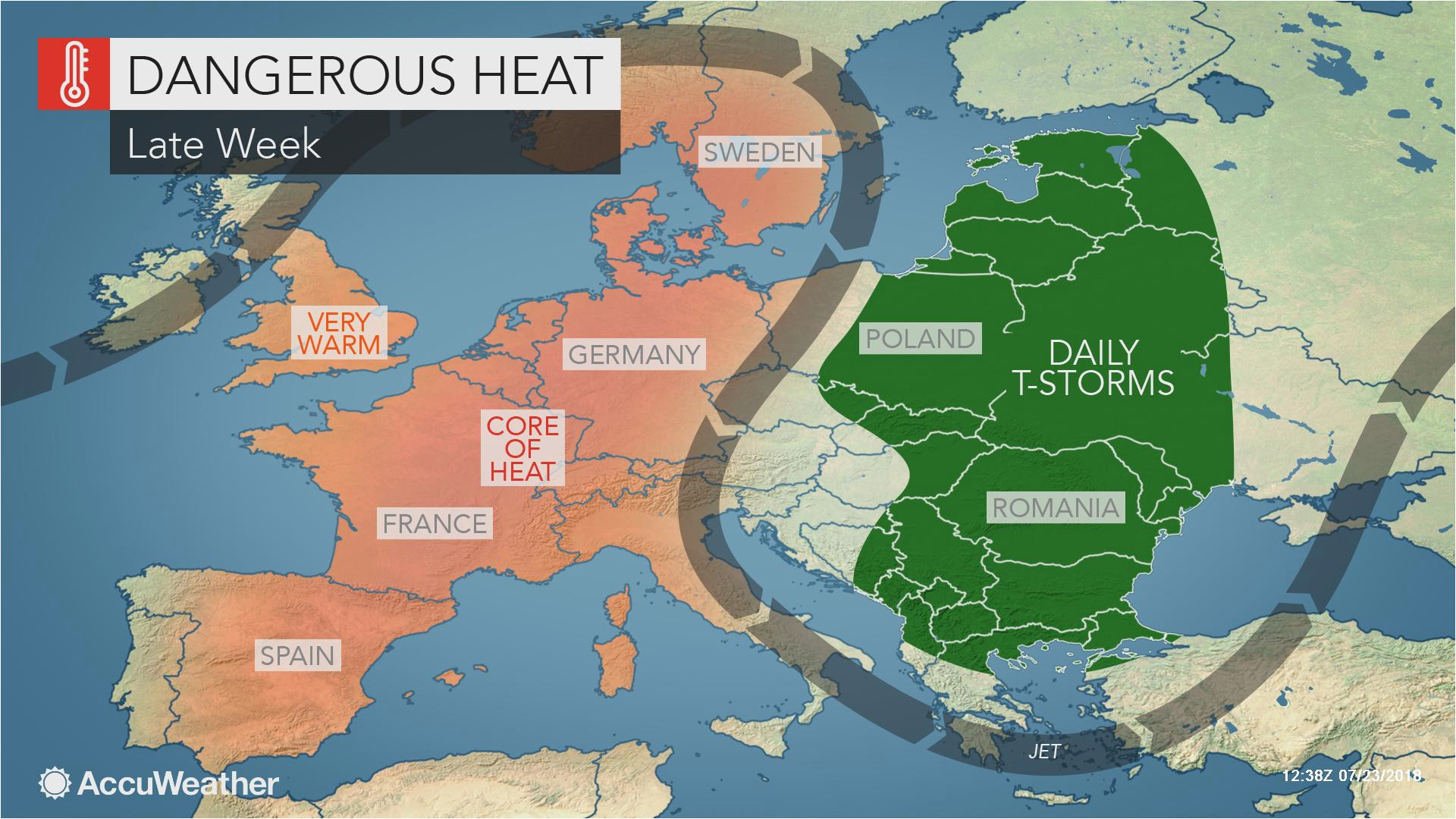 intense heat wave to bake western europe as wildfires rage in sweden