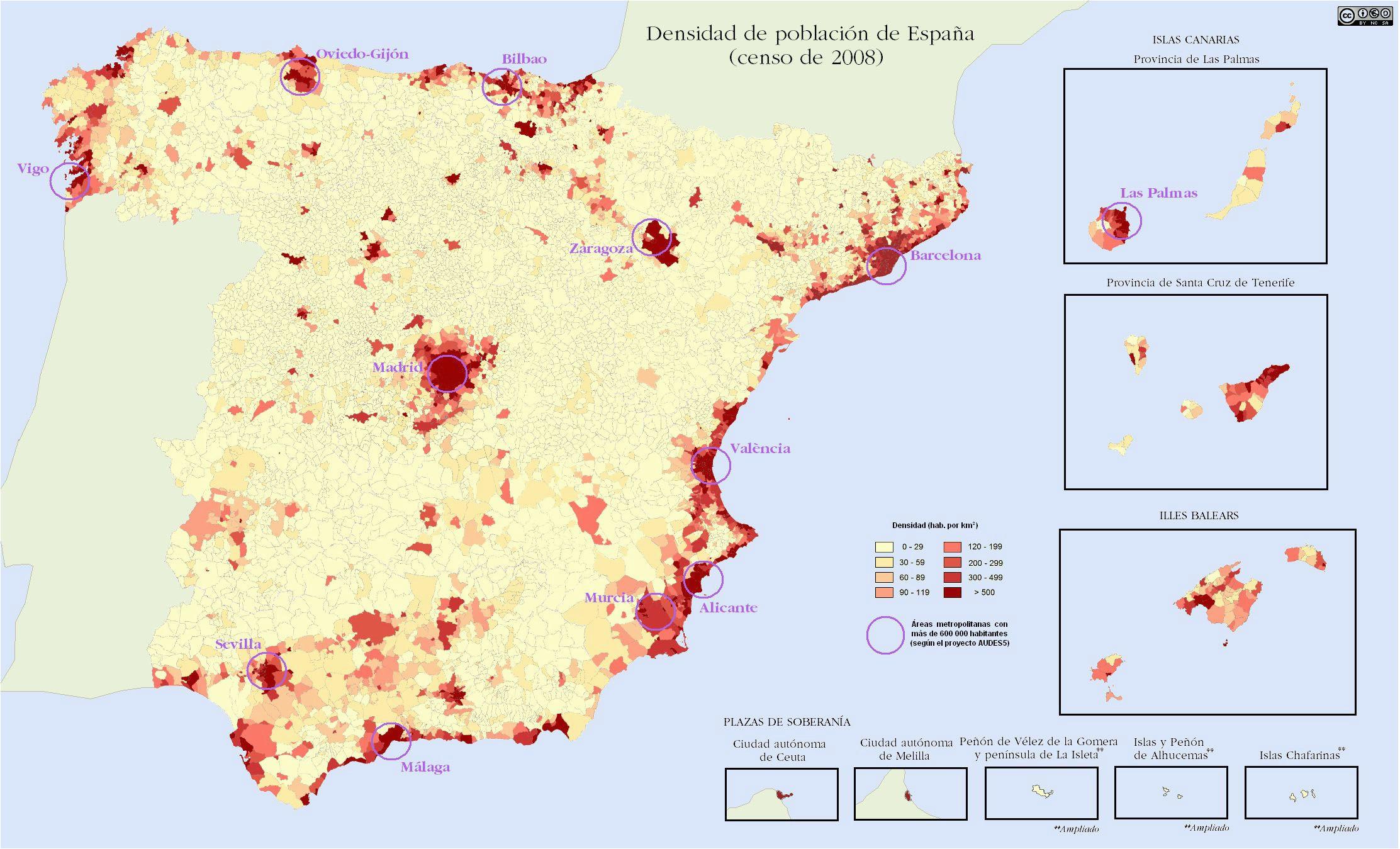 quantitative population density map of spain lighter colors