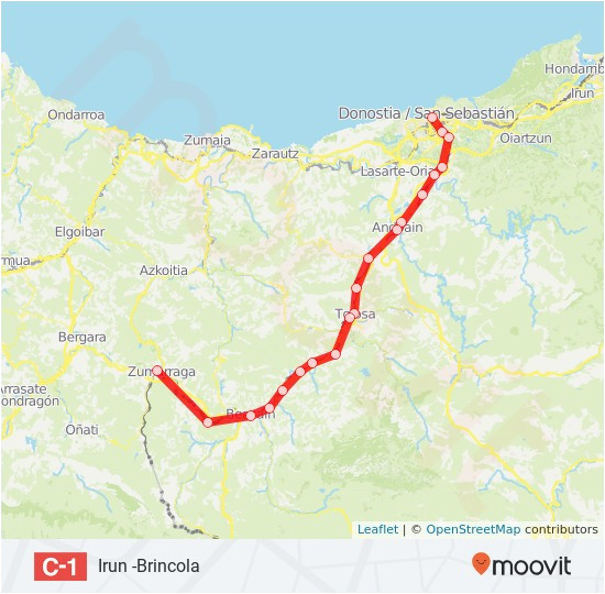 Spain Train Route Map C1 Route Time Schedules Stops Maps San Sebastian Donostia