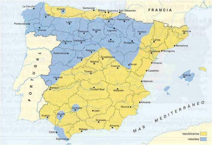 territories controlled by the two sides at the start of the spanish