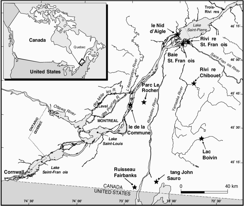 map of localities in the st lawrence river basin in southern