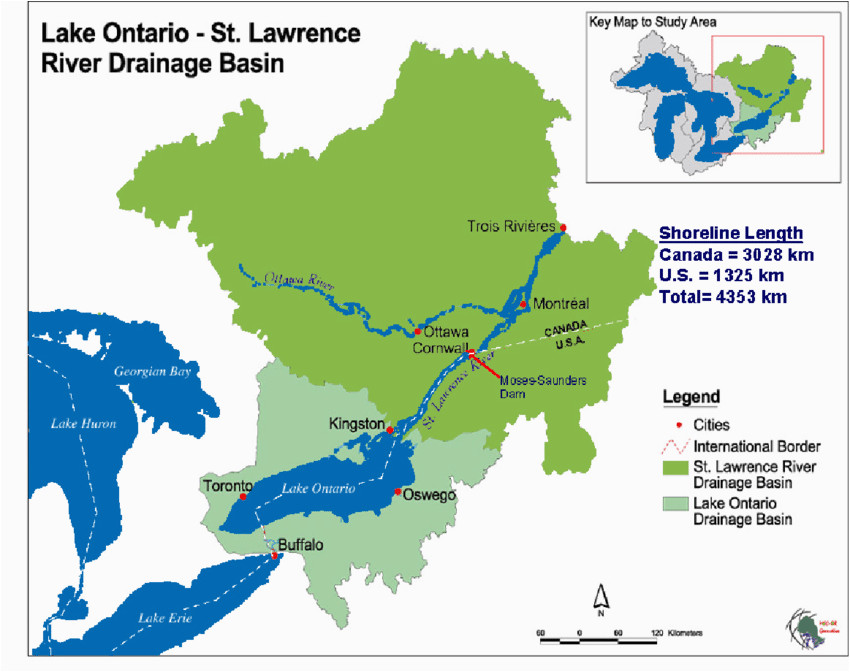 map of loslr drainage basin source map courtesy of the ijc