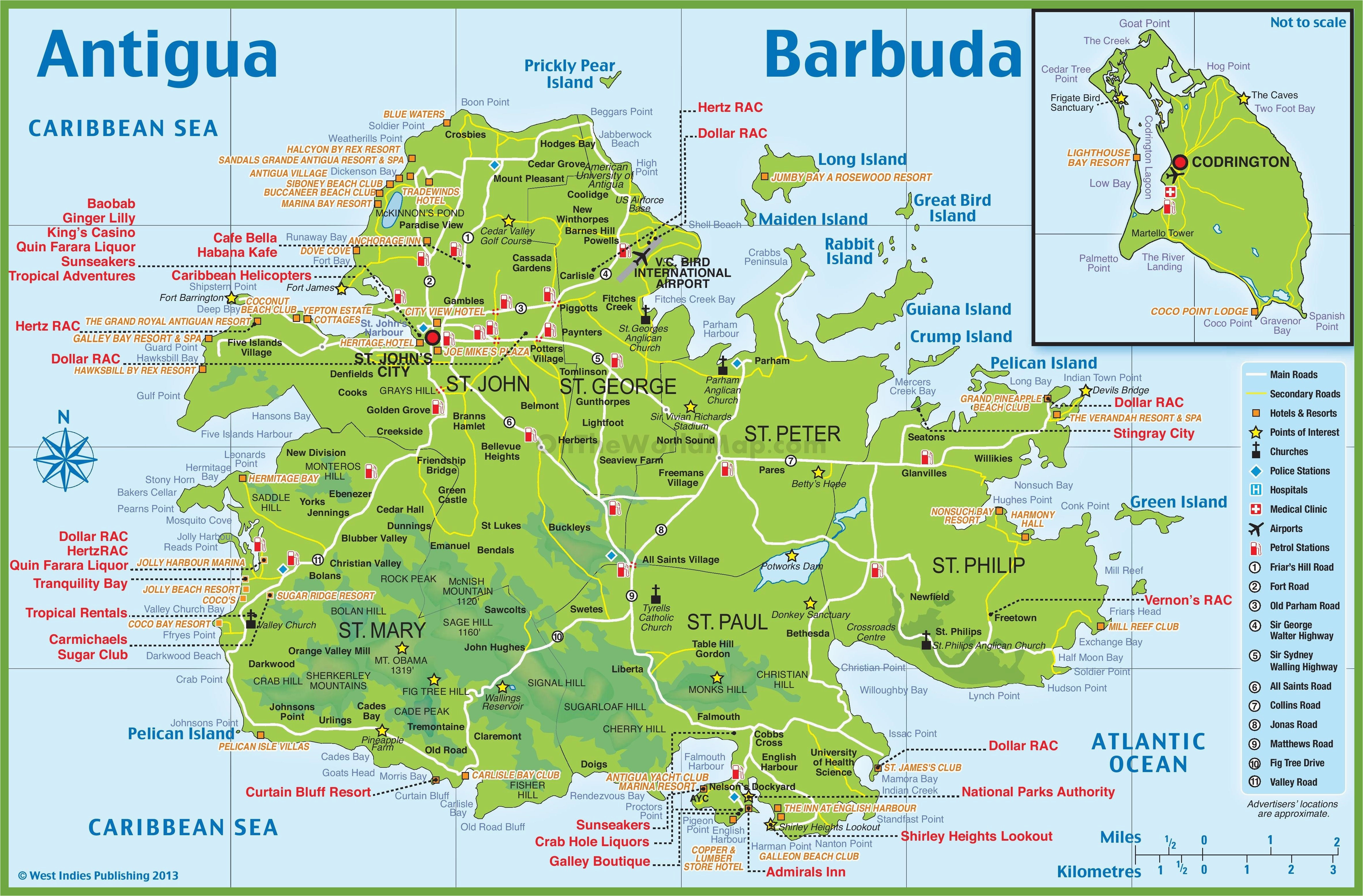 large detailed tourist map of antigua and barbuda cruise travel