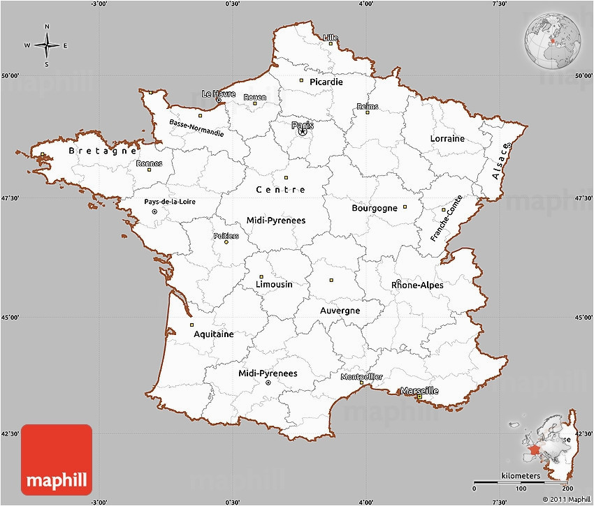 States Of France Map States On A Map Political Map France Gray Simple Map Of France