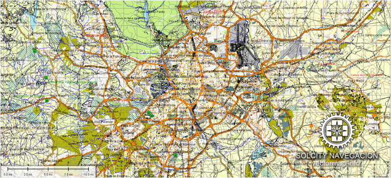 madrid map vector spain printable city plan atlas 49 parts editable street map adobe illustrator