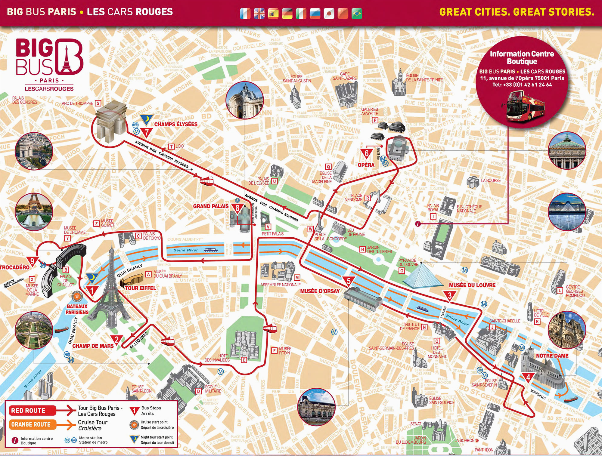 map of paris tourist attractions sightseeing tourist tour
