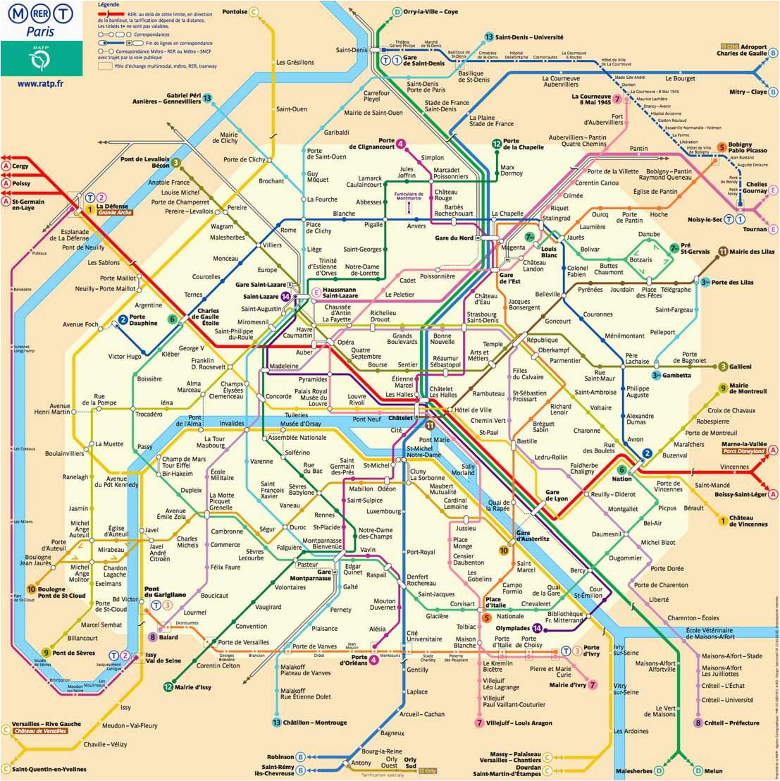 Subway Map Paris France Plan Der Pariser Metro Paris Metroplan Metronetz Map