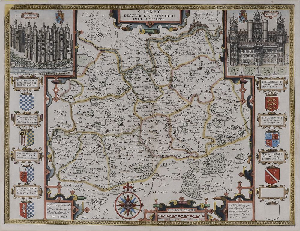 john speed map of surrey england surrey described and