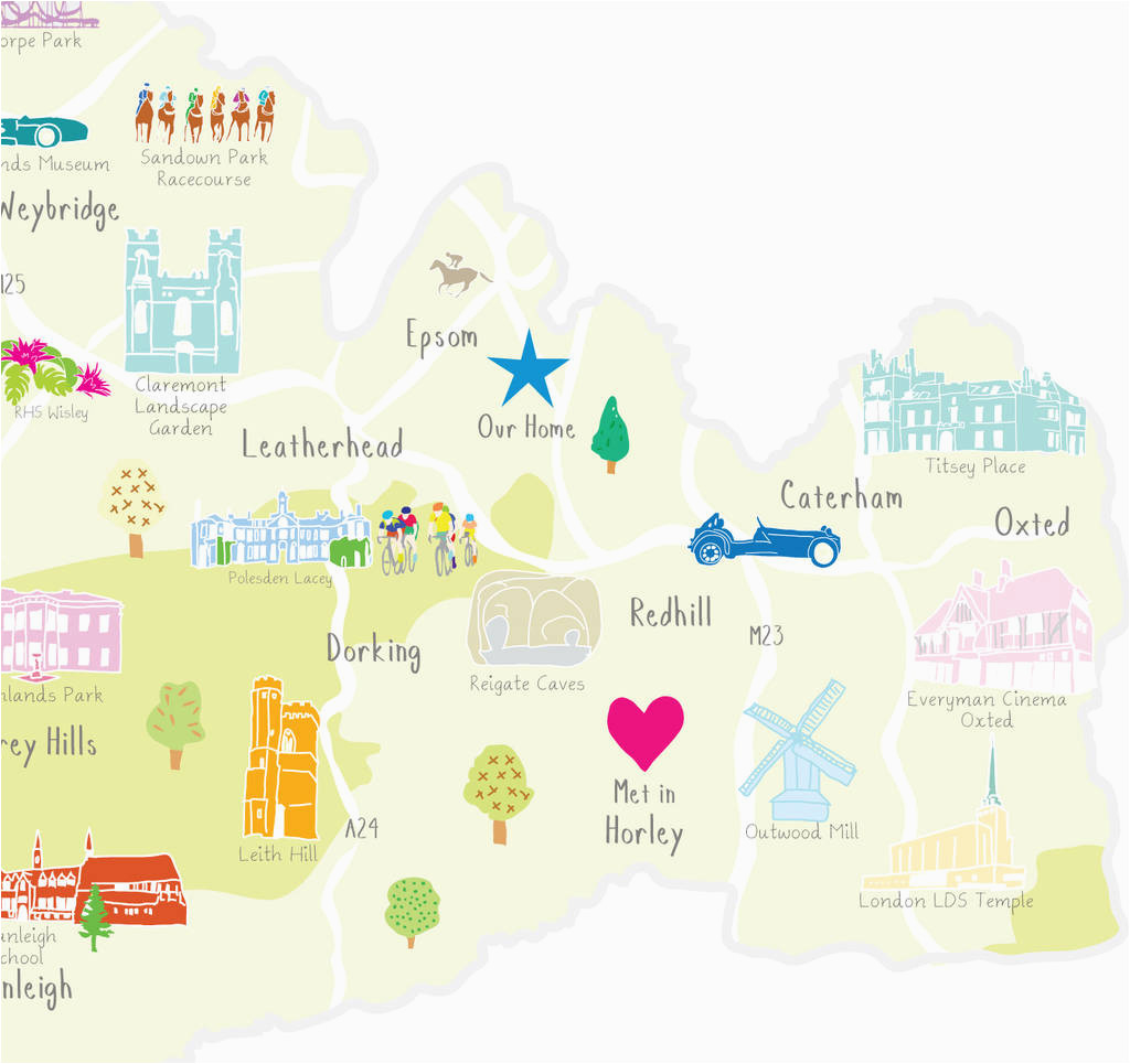 personalised surrey map add favourite places