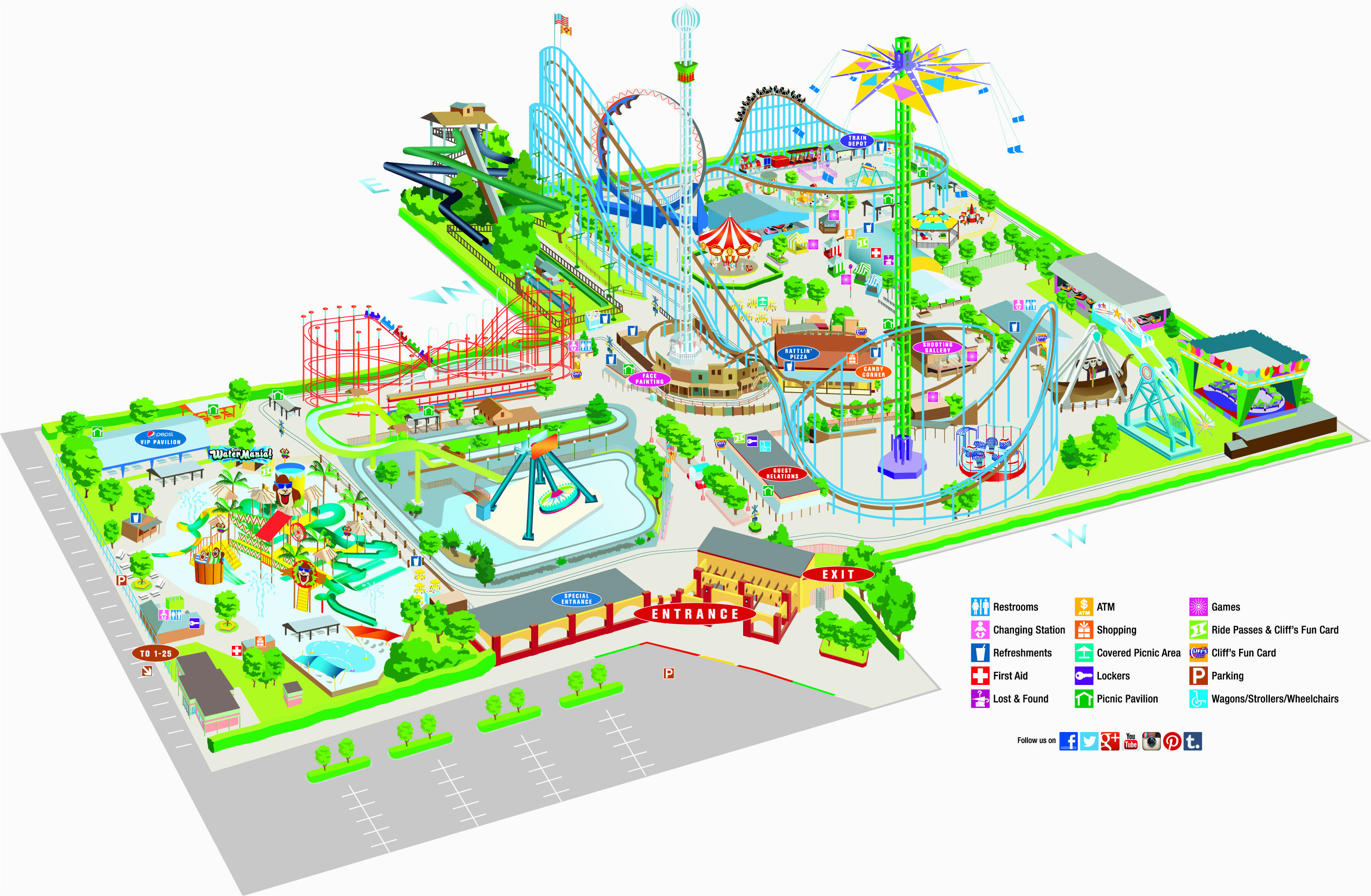 Theme Parks In France Map 2014 Cliff S Amusement Park Map Map Travel Map Parking
