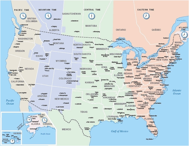 Map Of Time Zones Canada And Usa